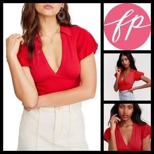 FP Free People Cherry Red Molly Collared Tee S NWT